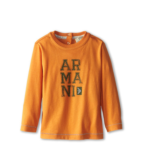 Armani Junior - Long Sleeve Armani T-Shirt (Infant) (Orange) Boy's Long Sleeve Pullover