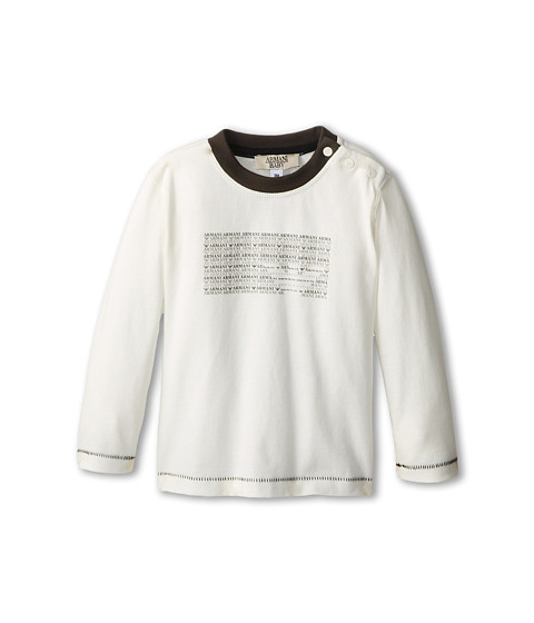 Armani Junior - Long Sleeve T-Shirt w/ Armani Logo Graphic (Infant) (White) Boy's Long Sleeve Pullover