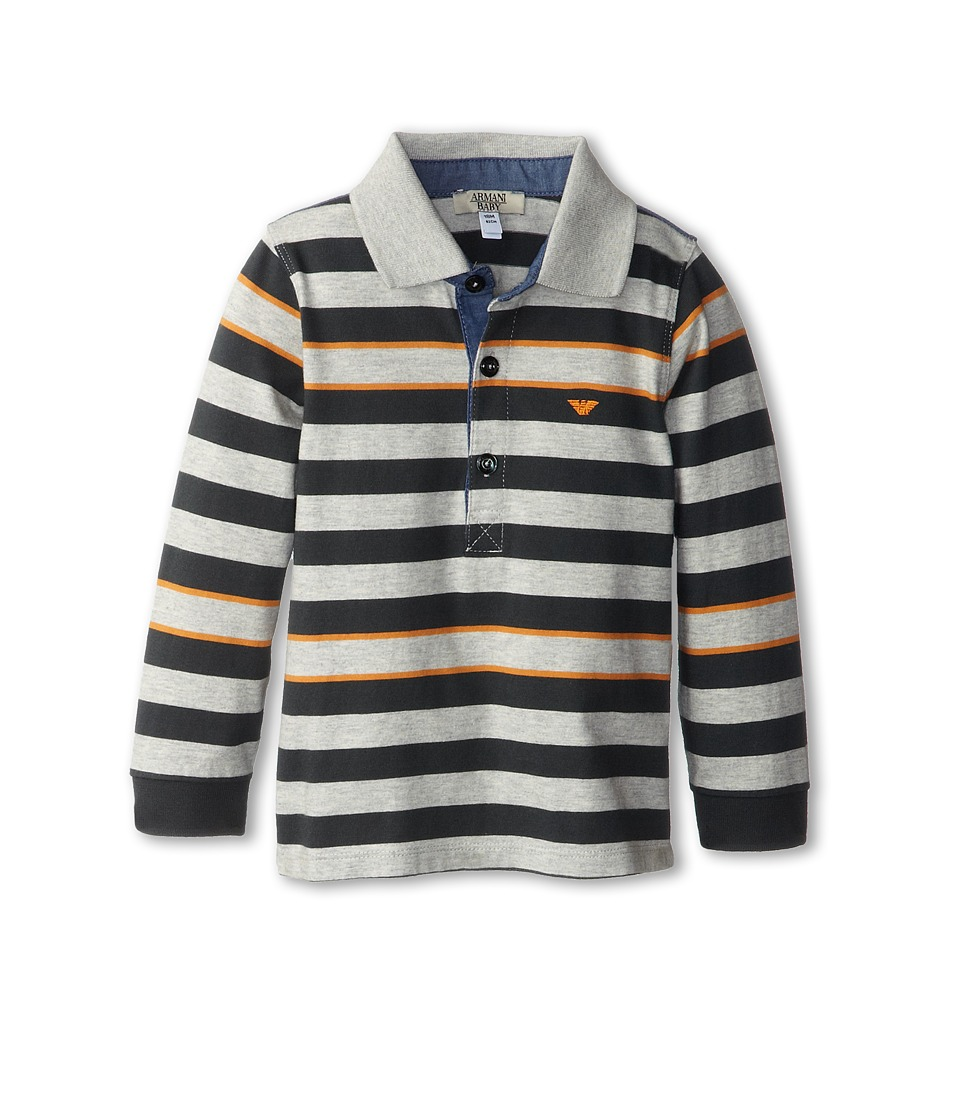 Armani Junior - Long Sleeve Striped Polo Shirt (Infant) (Grey/Orange/Green Striped) Boy's Long Sleeve Pullover