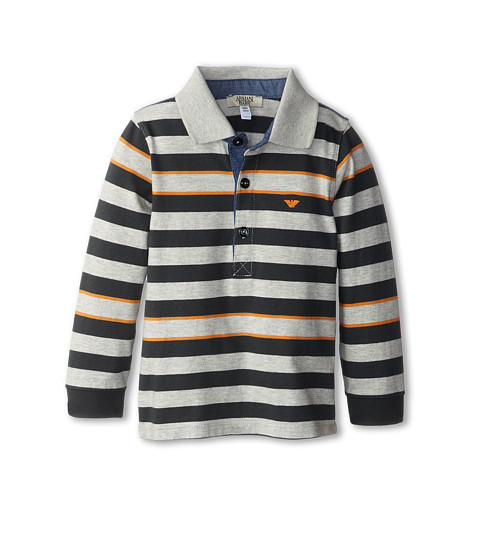 Armani Junior - Long Sleeve Striped Polo Shirt (Infant) (Grey/Orange/Green Striped) Boy