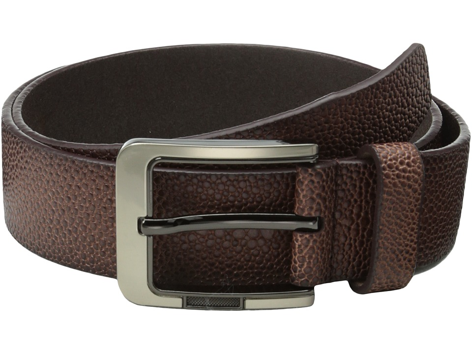 Stacy Adams - 38mm Large Pebble Grain Leather (Brown) Men's Belts