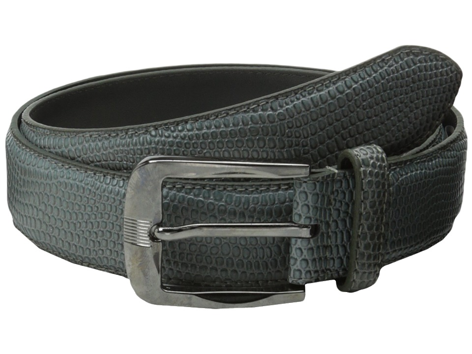 Stacy Adams - 32mm Lizard Skin Embossed Leather (Gray) Men's Belts