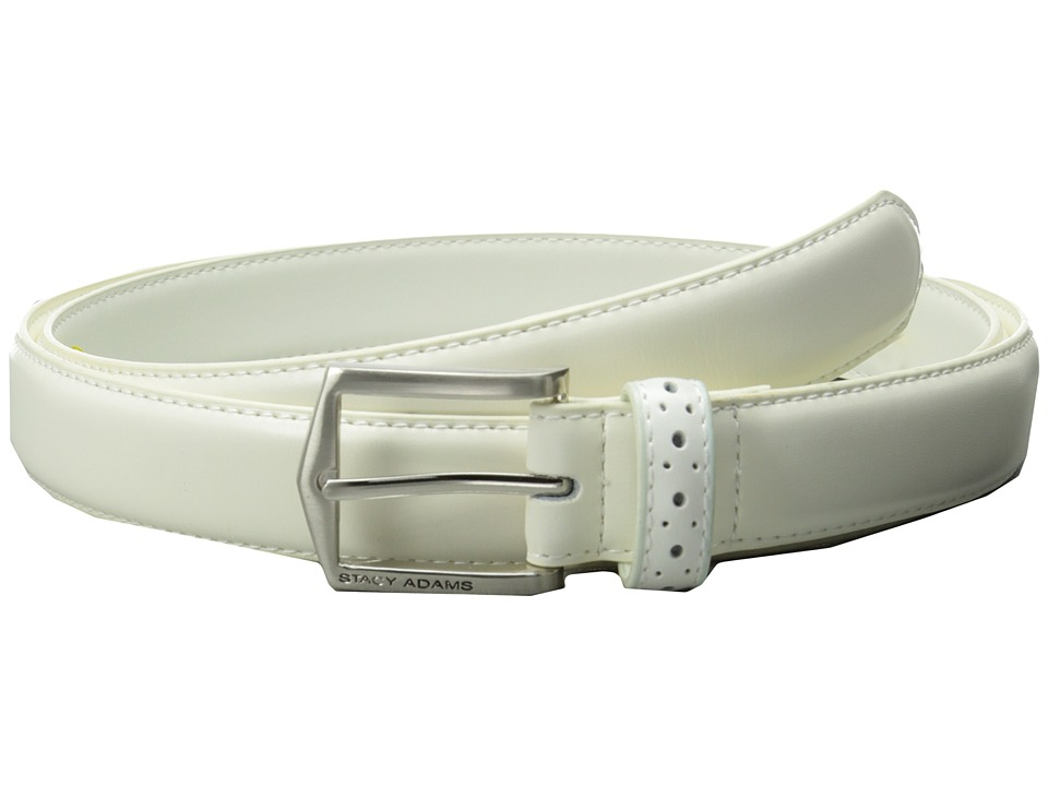 Stacy Adams - 30mm Pinseal Leather Belt X (White) Men's Belts