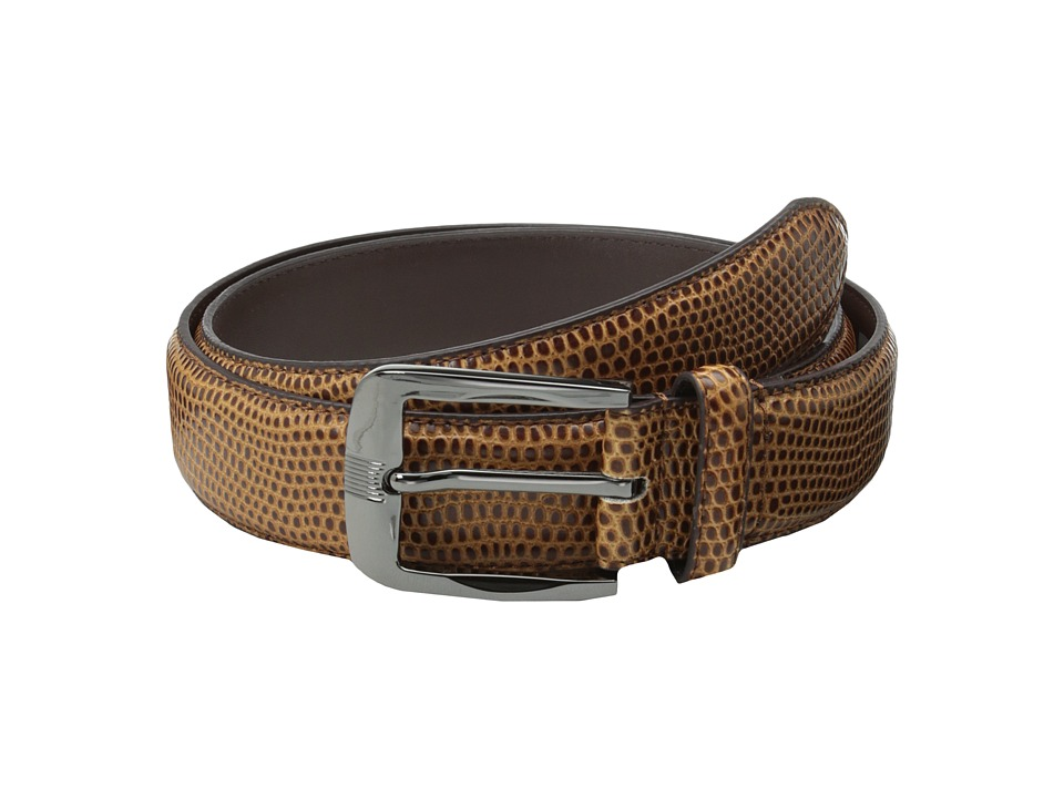 Stacy Adams - 32mm Lizard Skin Embossed Leather (Cognac) Men's Belts