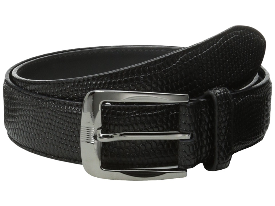 Stacy Adams - 32mm Lizard Skin Embossed Leather (Black) Men's Belts