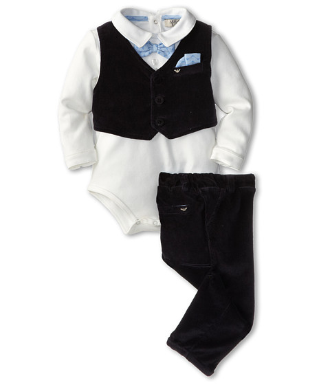 Armani Junior - Package - 3 Pieces (Infant) (White/Navy) Boy's Active Sets
