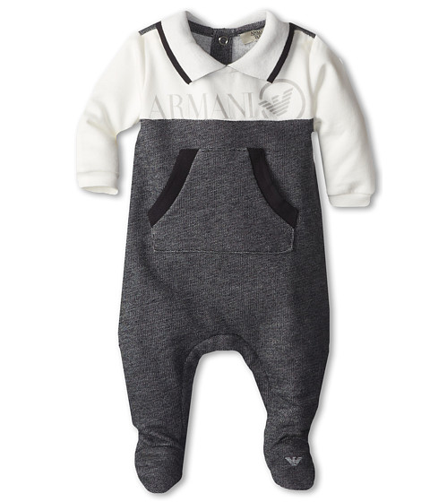 Armani Junior - Long Sleeve Polo Jumpsuit (Infant) (White/Dark Grey) Boy's Jumpsuit & Rompers One Piece