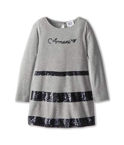 Armani Junior - Dress With Black Sequin Stripes (Toddler/Little Kids/Big Kids) (Grey/Black Sequins) Girl
