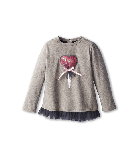 Armani Junior - Long Sleeve T-Shirt w/ Heart Lollipop Graphic (Infant) (Melange) Girl's Long Sleeve Pullover