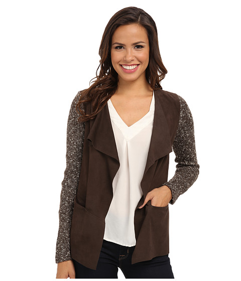 NIC+ZOE - Swinging Suede Mixy Jacket (River Rock) Women's Sweater