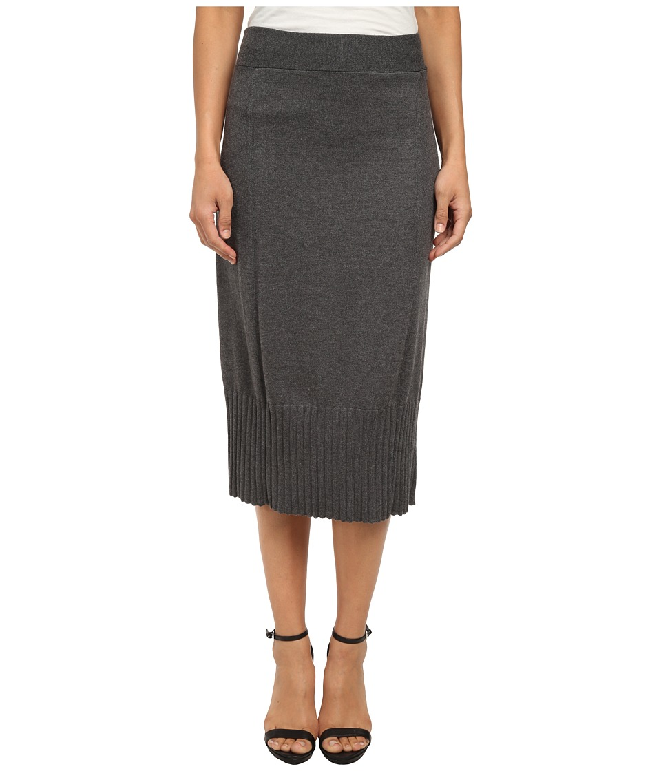 NIC+ZOE - Ribbed Bottom Midi Skirt (Dark Grey) Women's Skirt
