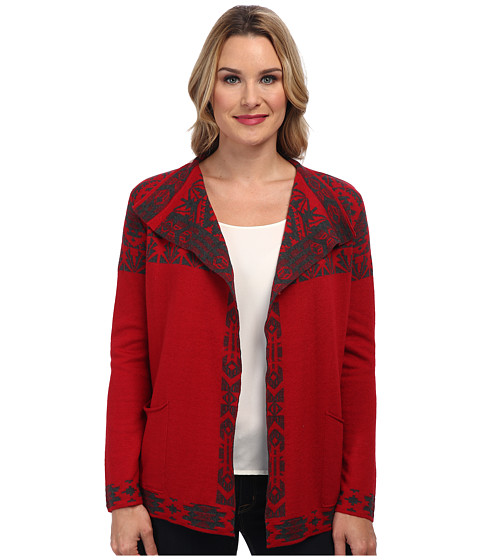 Pendleton - Placed Jacquard Cardigan (Red/Charcoal Heather) Women's Sweater