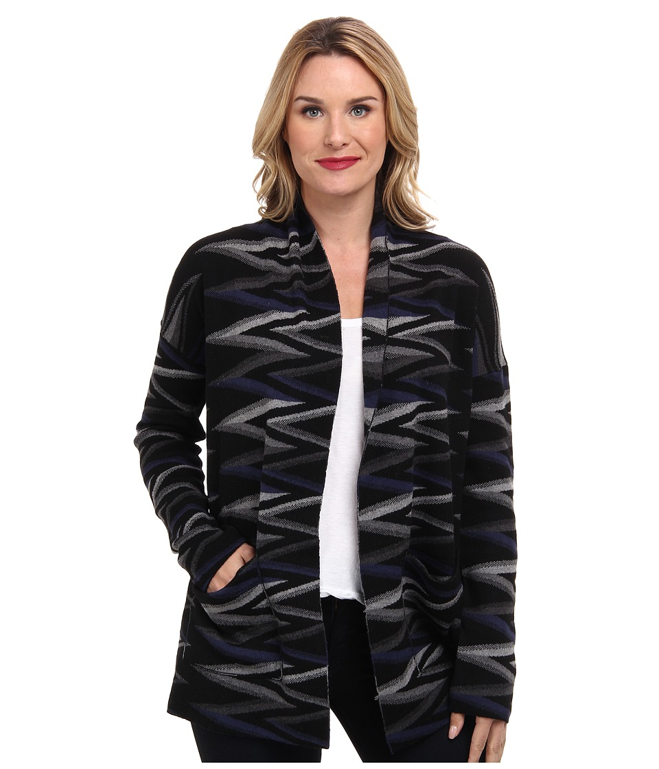Pendleton - Zig Zag Stripe Cardigan (Black/Grey/Blue) Women