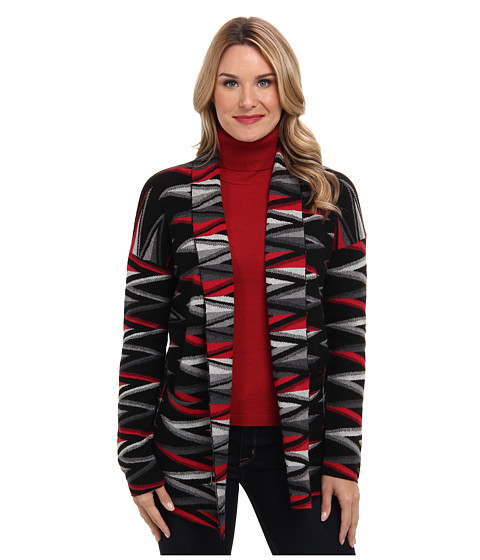 Pendleton - Zig Zag Stripe Cardigan (Black/Grey/Red) Women's Sweater