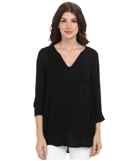 Allen Allen - Rayon Crepe 3/4 Sleeve Two-Pocket Keyhole (Black) Women's Long Sleeve Pullover