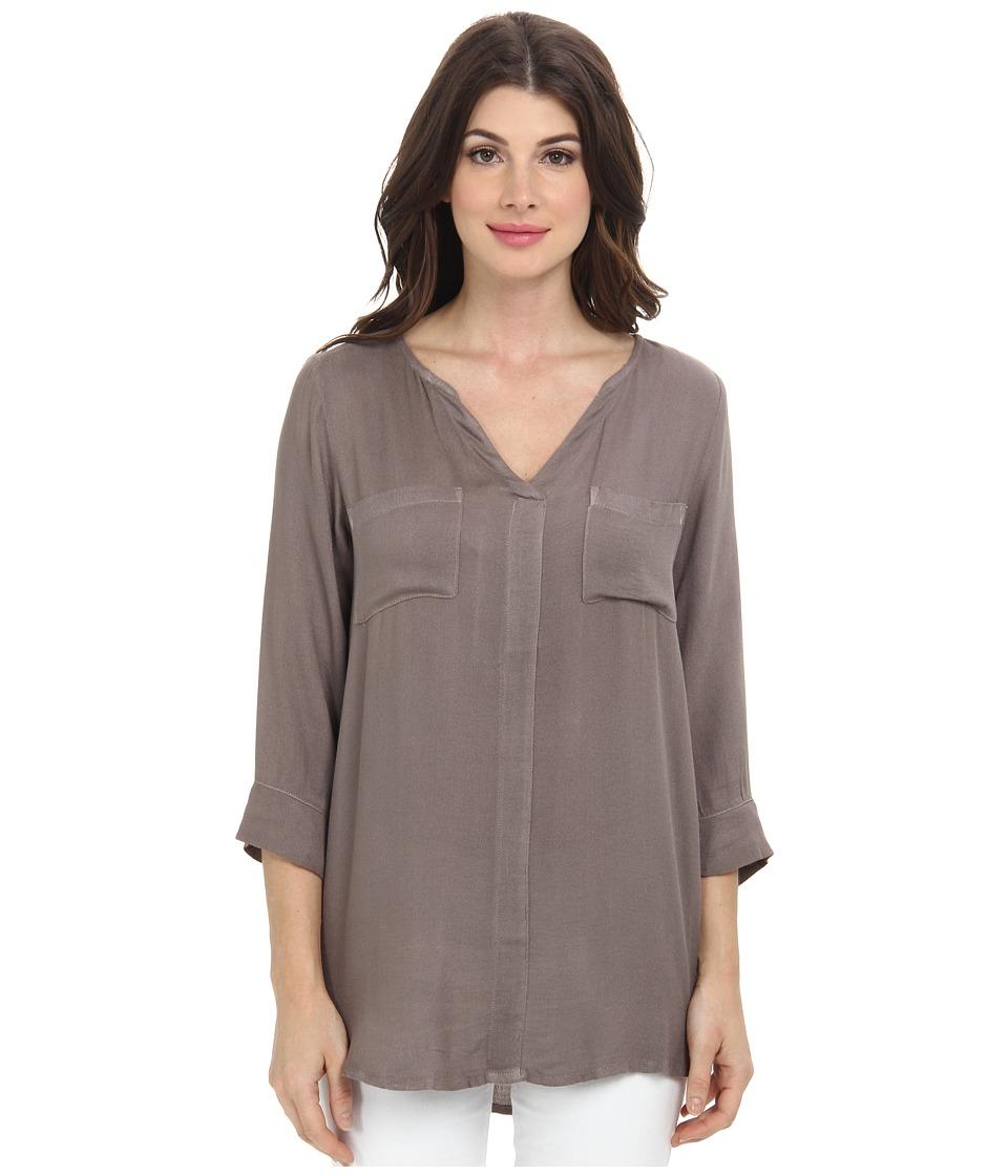 Allen Allen - Rayon Crepe 3/4 Sleeve Two-Pocket Keyhole (Mushroom) Women's Long Sleeve Pullover