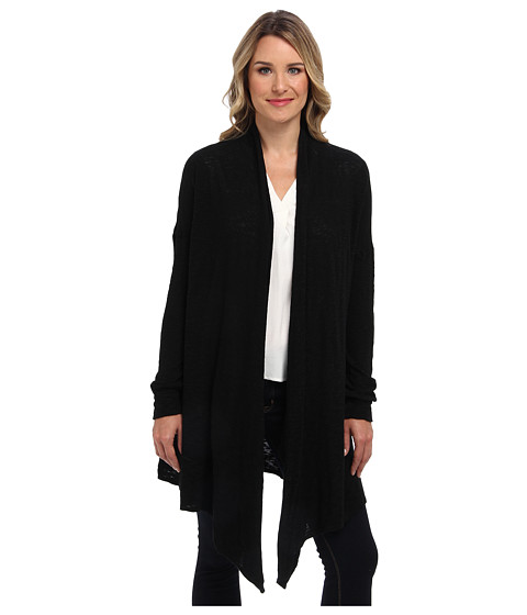 Allen Allen - Slub Sweater Mesh Long Sleeve Two-Pocket Open Cardigan (Black) Women