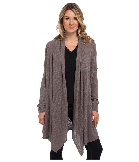 Allen Allen - Slub Sweater Mesh Long Sleeve Two-Pocket Open Cardigan (Mushroom) Women's Sweater