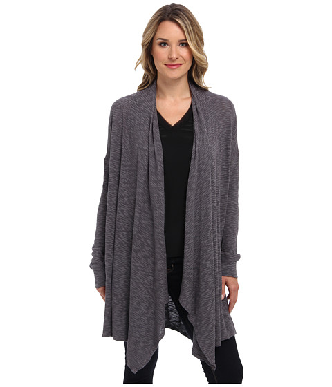 Allen Allen - Slub Sweater Mesh Long Sleeve Two-Pocket Open Cardigan (Dark Grey) Women's Sweater