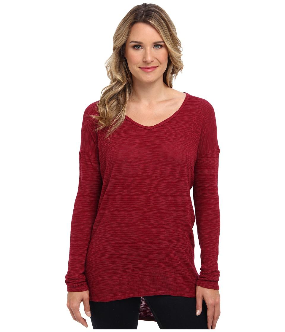 Allen Allen - L/S Dolman Yoke V Sweater (Merlot) Women's Sweater