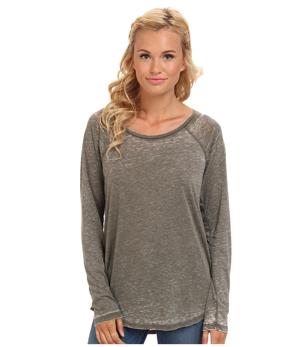 Volcom - Lived In Burnout L/S Tee (Military) Women's Long Sleeve Pullover