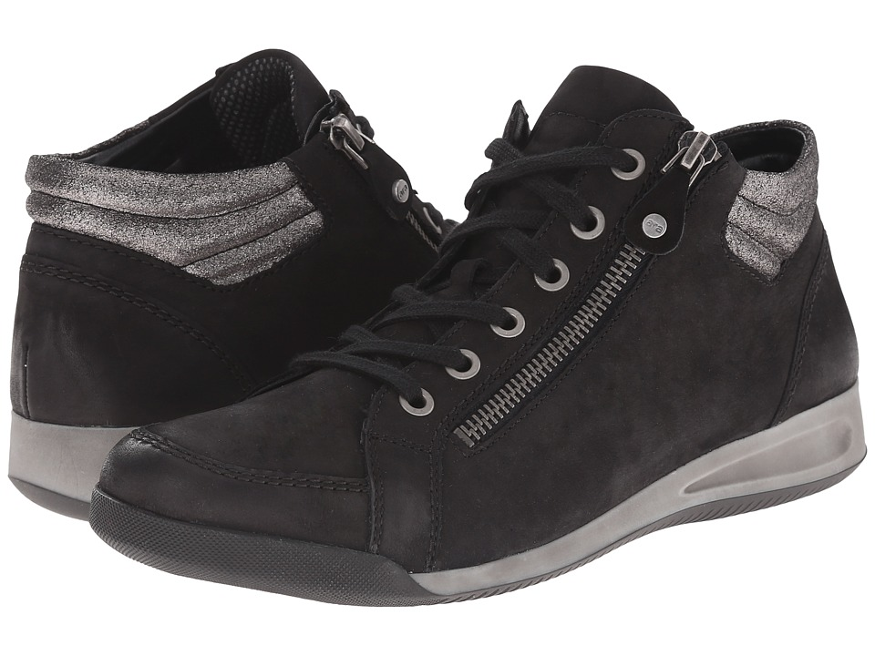 ara - Rylee (Black Brushed Nubuk/Gun Metallic) Women's Shoes