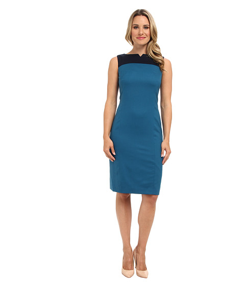 Pendleton - Ultra 9 Stretch Worsted Color Block Sheath Dress (Moroccan Blue Ultra 9 Stretch Worsted) Women's Dress