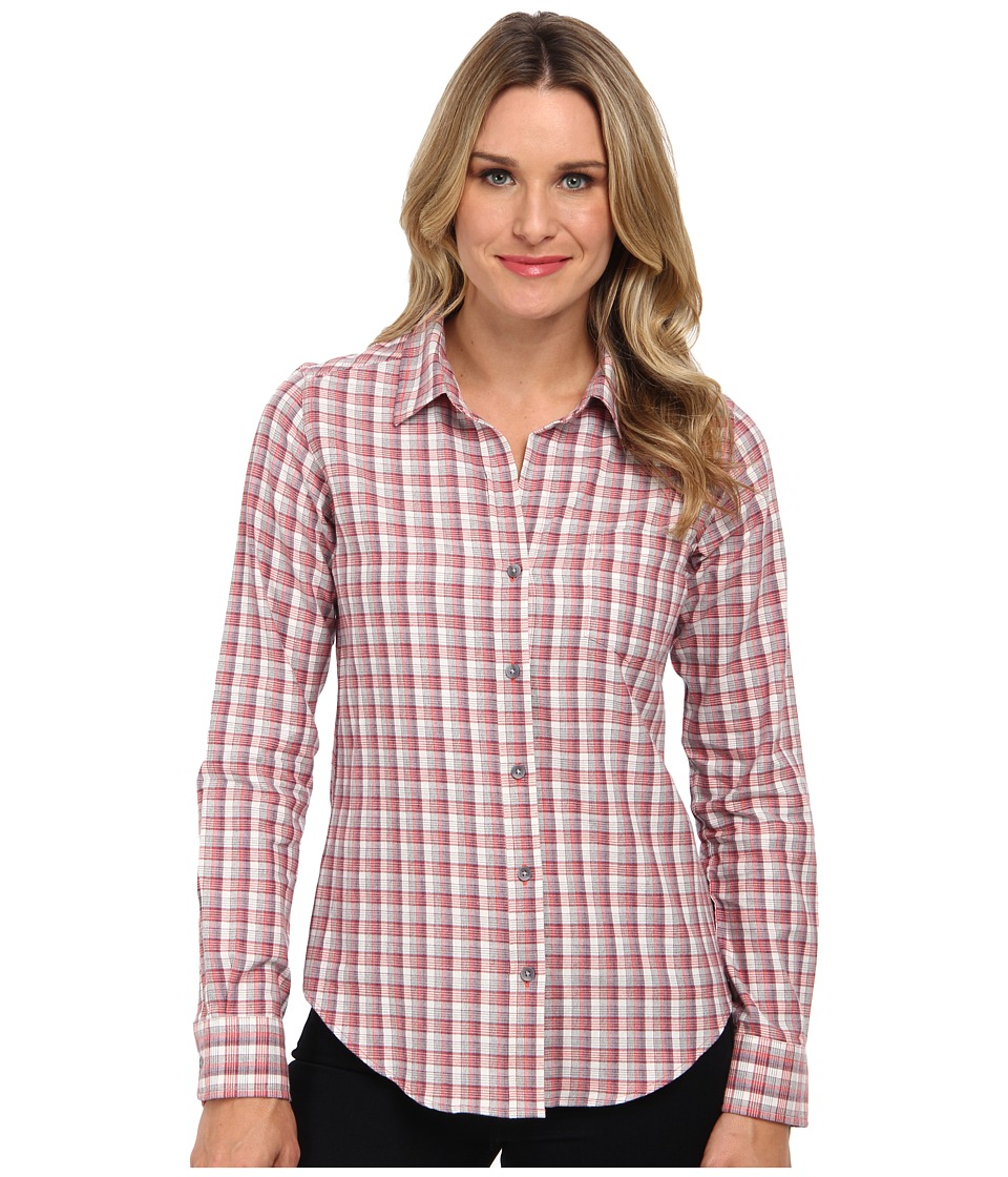 Pendleton - Felicia Flannel Shirt (Ivory/Cranberry Heather/Grey Plaid) Women's Long Sleeve Button Up