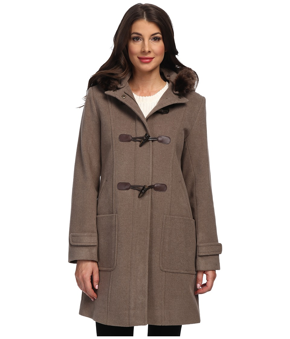 Pendleton - Faux Fur Trimmed Toggle Coat (Soft Brown Mix) Women's Coat