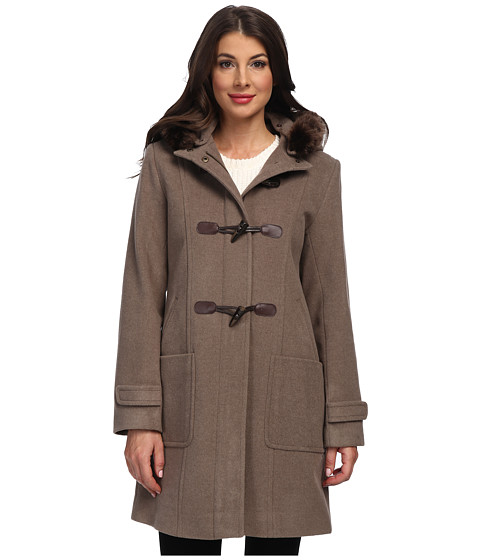 Pendleton - Faux Fur Trimmed Toggle Coat (Soft Brown Mix) Women's Coat