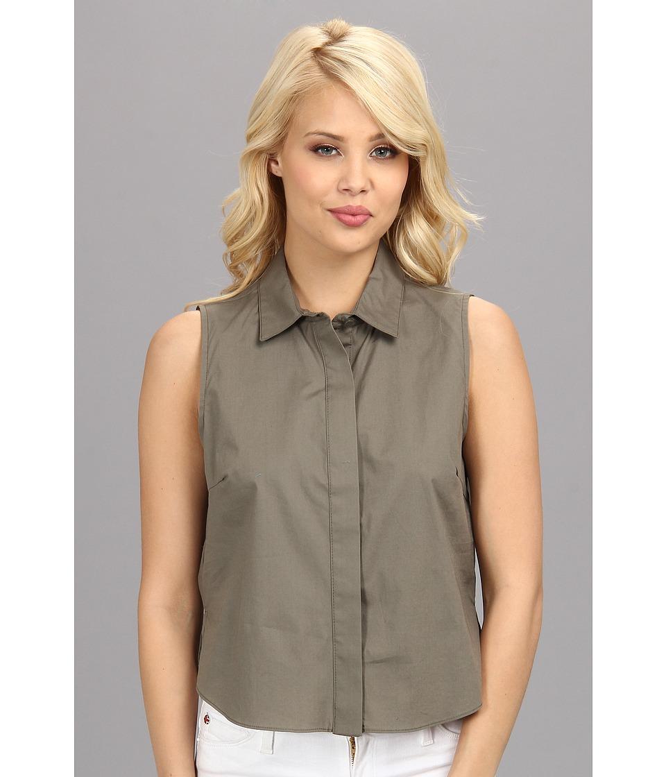 BCBGeneration - Woven Sportswear Top DDR1S085 (Dark Grey Moss) Women's Short Sleeve Button Up