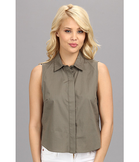 BCBGeneration - Woven Sportswear Top DDR1S085 (Dark Grey Moss) Women's Short Sleeve Button Up
