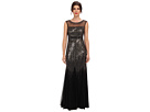 Adrianna Papell Illusion Yoke Sleeveless Beaded Gown (Black)