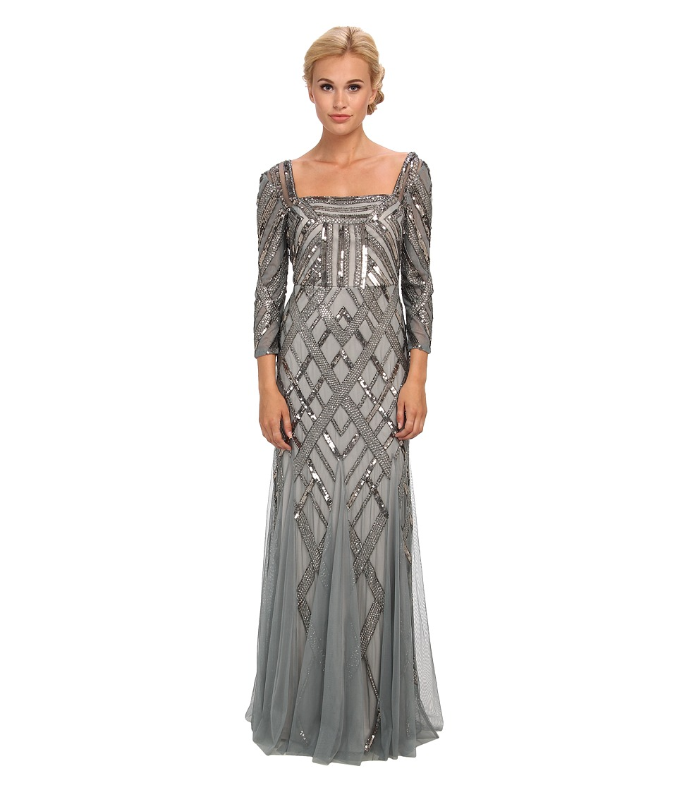 Image of Adrianna Papell - 3/4 Sleeve Envelope Back Art-Deco Bead Gown (Slate) Women's Dress