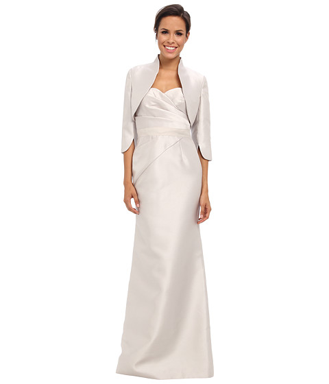 Adrianna Papell - Strapless Gown w/ Bolero (Silver) Women's Dress