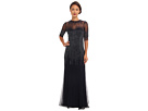 3/4 Sleeve Illusion Neck Beaded Gown