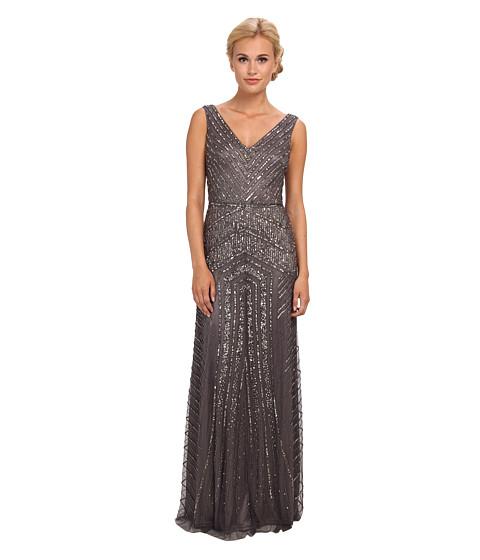 UPC 887873674121 - Adrianna Papell Long V-Neck Beaded Gown (Gunmetal ...