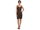 Adrianna Papell Short Beaded Tank Dress (Black/Nude)
