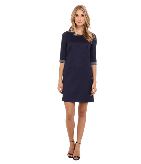 Adrianna Papell - Beaded Trim Jacqaurd Shift (Midnight Blue) Women's Dress