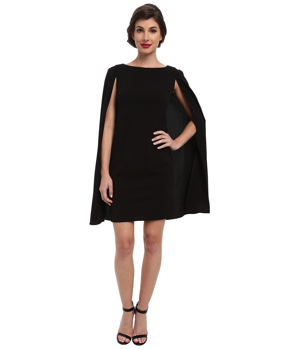 Adrianna Papell - Structured Cape Sheath Dress (Black) Women's Dress