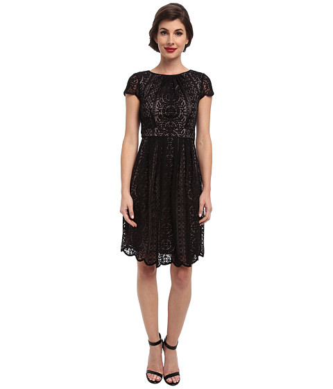 Adrianna Papell - Pleat Striped Filigree Lace (Black) Women's Dress