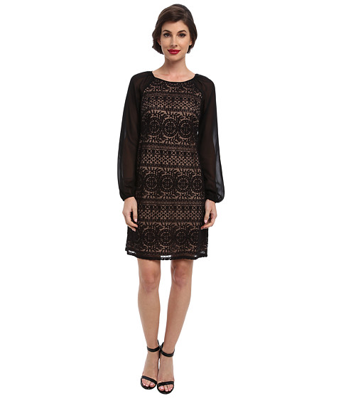 Adrianna Papell - Chiffon Sleeve Lace Shift (Black) Women's Dress