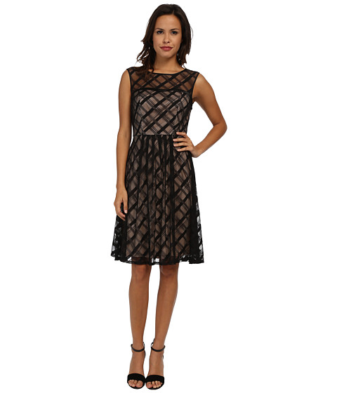 Adrianna Papell - Sweetheart Plaid Lace Dress (Black) Women