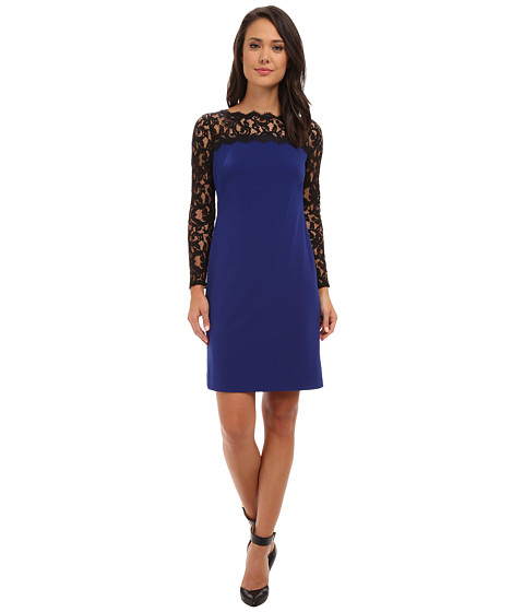 Adrianna Papell - Lace Top Detail Shift (Iris/Black) Women's Dress
