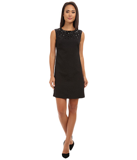 Adrianna Papell - Necklace Beaded Sheath Dress (Black) Women's Dress