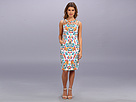 Adrianna Papell Diagonal Strapped Neck Print (Ivory Multi)