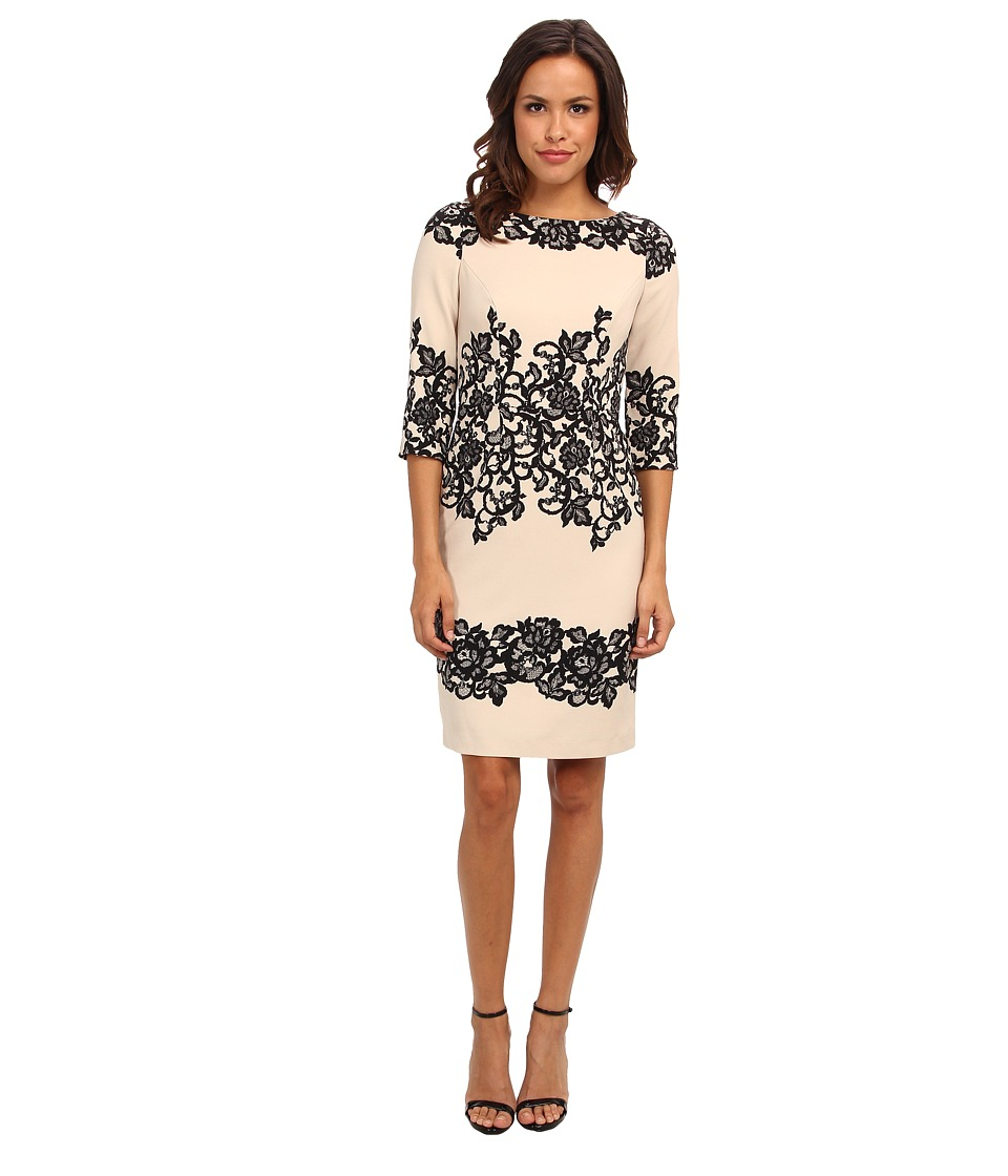 Adrianna Papell - Fitted Placed Printed Lace (Cashmere) Women's Dress