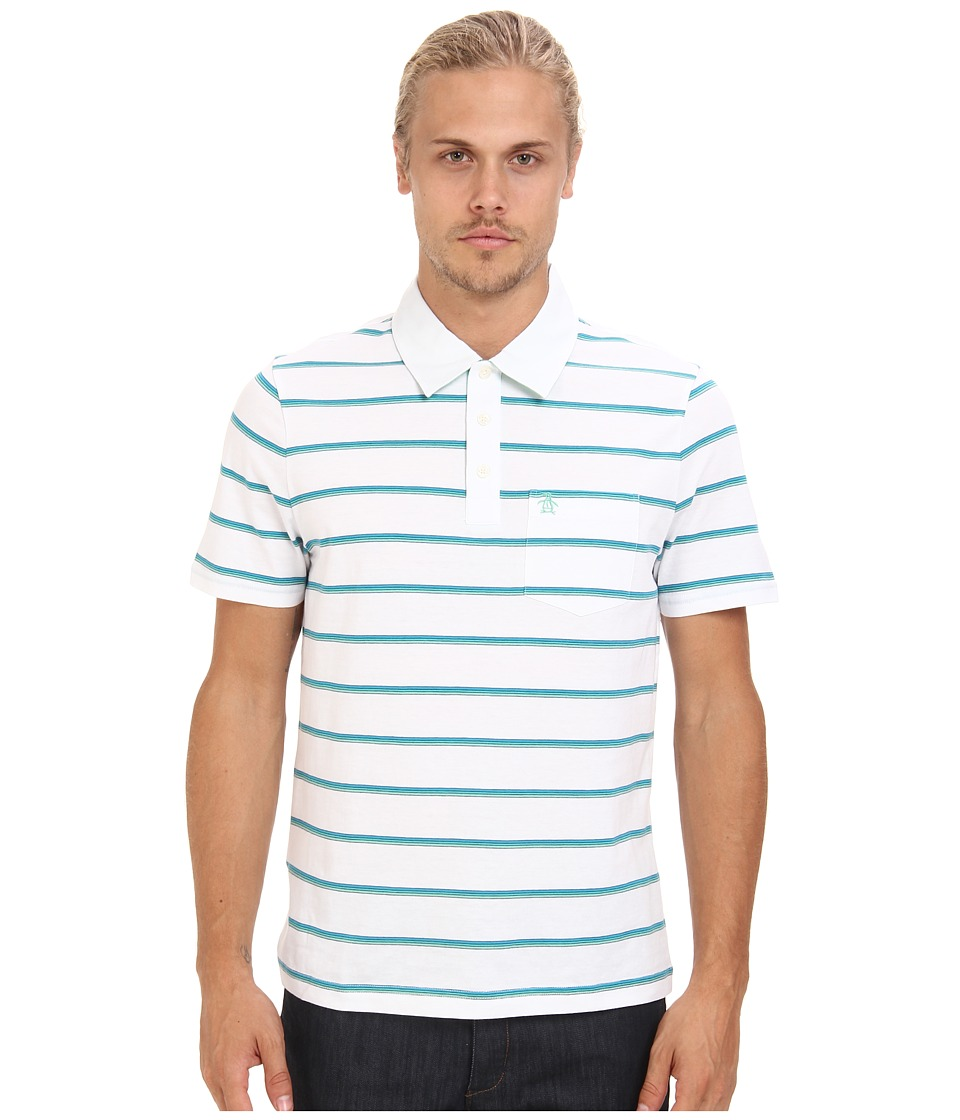 Original Penguin - Stripe Pocket Polo (Bright White 1) Men