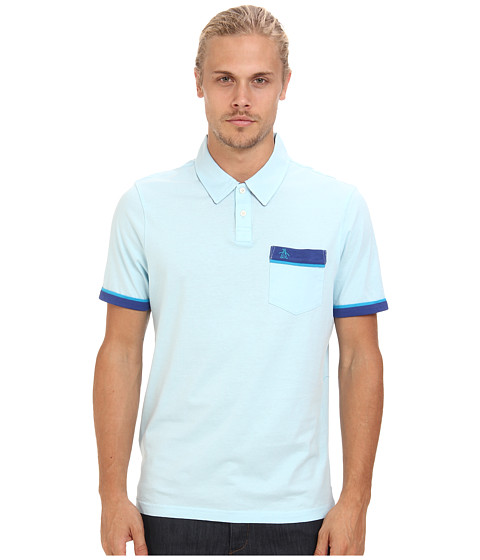 Original Penguin - Color Block Pocket Polo (Crystal Blue) Men's Short Sleeve Pullover