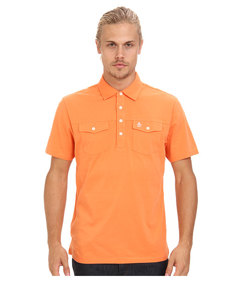Original Penguin - Double Pocket Polo (Coral Rose) Men